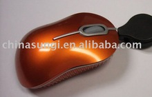 super mini mouse with retractable cable 3D optical mouse