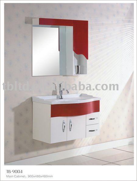 Vermelho e branco MDF armário do banheiroPenteadeiras para banheiroID do pr -> Gabinete De Banheiro Vermelho E Branco