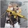 Cross Fire Metal Gun Keychain