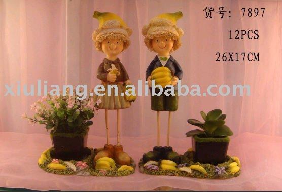 wedding decoration yellow banana boy resin doll