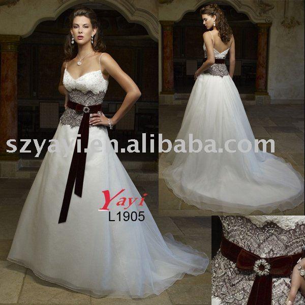 white organza black lace sash ALine court train wedding dresses L1905