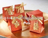 "Wedding favors-""Double Happiness"" Asian-Themed Favor Box With Metallic-Gold Symbol And Bow"