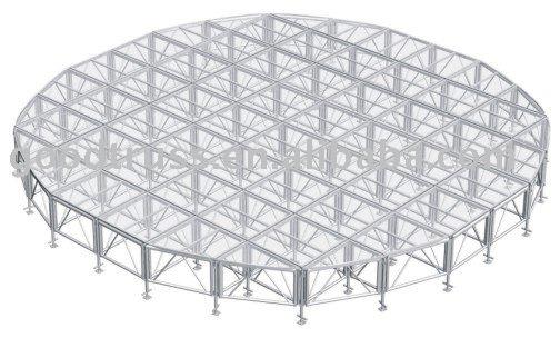 transparent plexiglass stage