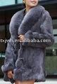 dames manteau de fourrure noble lièvre avec fourrure de renard collar