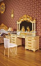 Nuevo elemento - de lujo blanco y de color oro dresser, con espejo y una silla ( moq: 1set )