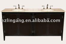 Solid wood Bathroom vanity with cecounter top ceramic basin