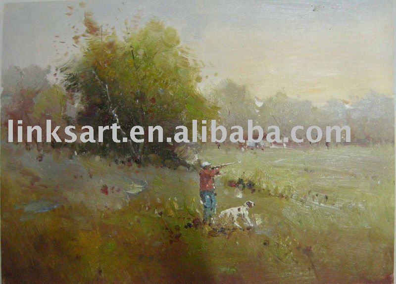Handmade landscape oil painting village scenery