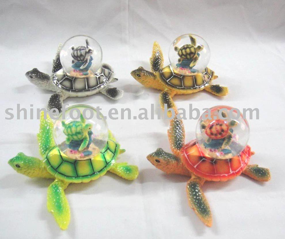 45mm polyresin turtle water globe for home decoration