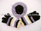 fashion acrylic mohair gloves hat beret set