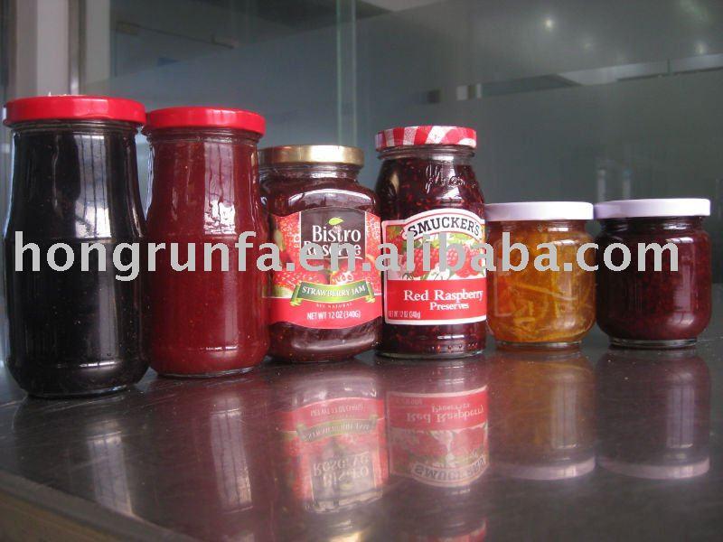 Fruits en conserve Jam ( confiture de fraise, Confiture de framboise, Blackberry confiture, Confiture de bleuets, Cassis Jam ) / confiture de fruits dans des bocaux en verre