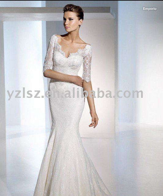 2011 new style HY22165 sexy vneck lace middle length sleeve wedding dress