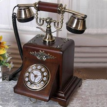 Square wooden basic antique telephone