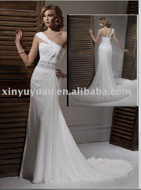 OneShoulder Romantic Chiffon Beach Wedding dress MA816