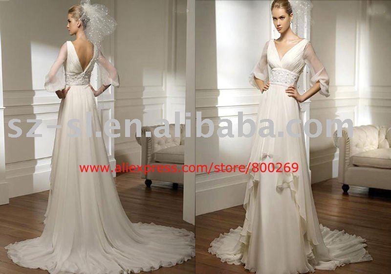 Long sleeve Vneck wedding gown chiffon 2011 SL4292