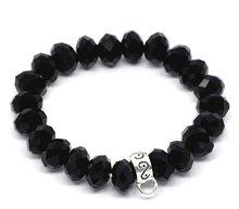 Black Crystal Elastic Bracelet Fit Clip On Charm 18cm