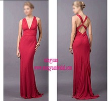 2011 red deep v-neck party dress m69