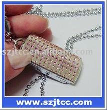 128MB Crystal U Disk Driver, USB Necklace, Jewelry USB Memory Stick