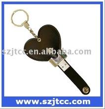 Leather USB Flash Memory, Heart Shape USB Stick Leather, 32GB USB Leather