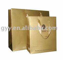 golden printed paper shopping bag