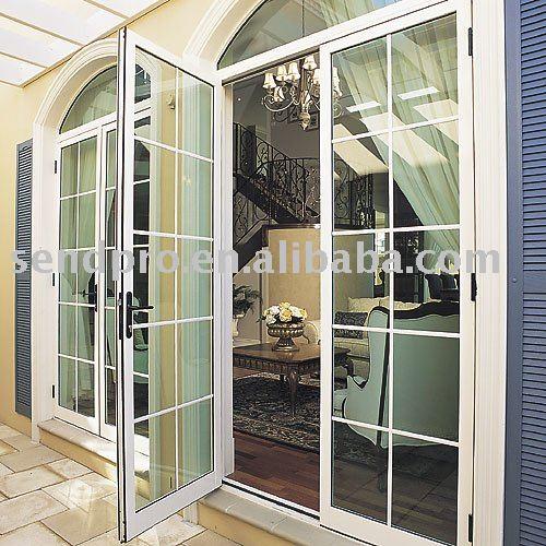 Puerta abatible de aluminio para balc n patio for Puertas metalicas para patio