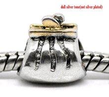 Two Tone Purse Beads Fit Charm Bracelet 10x10mm