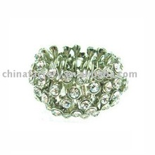 Fashion jewelry elastic rhinestone metal ring