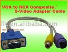 VGA HD15-pin female to MD 4-pin Monitor+ RCA Female 30cm Cable
