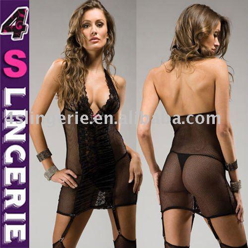 sexy fishnet lingerie lady sheer lace sleepwear Lord MegasXLR and Kiva Banshee