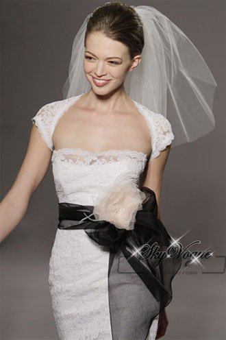 LG29 Short Sleeve Knee Length Wedding Dress