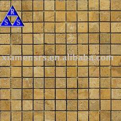 Natural yellow color tumbled travertine mosaic paver