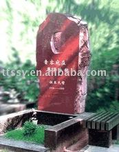 Black granite tombstone markers