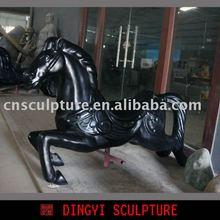 FRP black horse statue, horse statue for amusement park