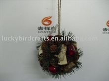 LXS0187 13cm pinecone/apple/pineneedle/birch bark ball ornament,red/green/nat