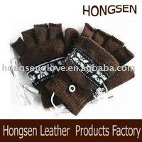 HS364 knitted glove half finger glove