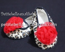 Leopard Print Shoes with Hot Red Rosettes Pettishoes Crib Shoes MAS16