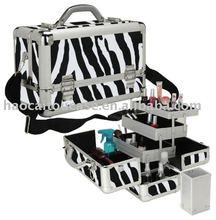 Zebra Textured Aluminum Makeup Train Case