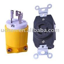 NEMA L5-15 locking plug and receptacle\J