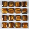 C142 Tiger's Eye Jasper Puffy Square Cabochon semi-precious gemstone
