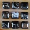 C215 Black Onyx Agate Puffy Square Cabochon semi-precious gemstone