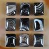 C219 Black Onyx Agate Puffy Rectangle Cabochon semi-precious stone
