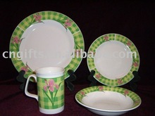 ceramic dinnerware set with 8 pieces plate and 4 pieces bowl annd 4 pieces cup