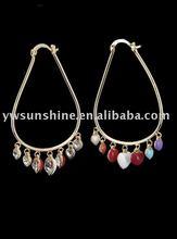 Rhinestone heart huggie earrings for women