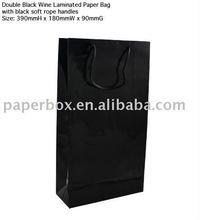 black double wine bottle bag