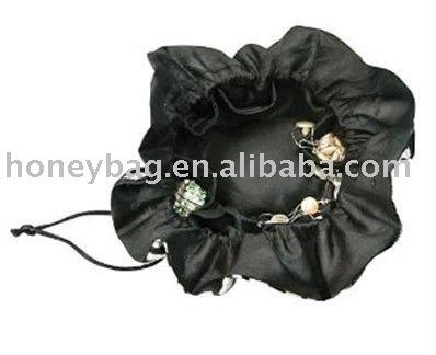 Zebra furry animal print drawstring jewelry pouch