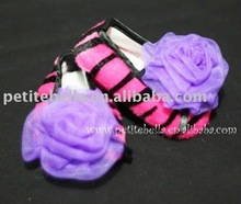 Hot Pink Zebra Print Shoes with Dark Purple Rosettes Pettishoes Crib Shoes MAS28