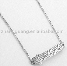 Fashion alloy jumping musical notes pendant necklace