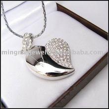 heart-shaped diamond jewelry usb flash drive white and glod