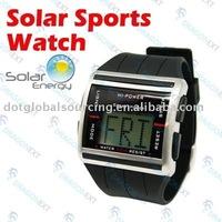 Solar Power Sport Digital LED Time Scrolling Water Resistance Wrist Watch