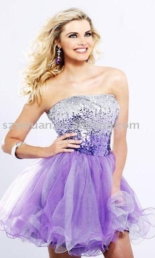 2011 formal purple short evening dress