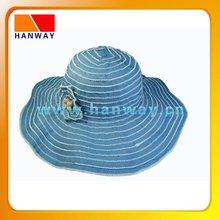 Lady's ribbon floppy fashion hat with flower trim